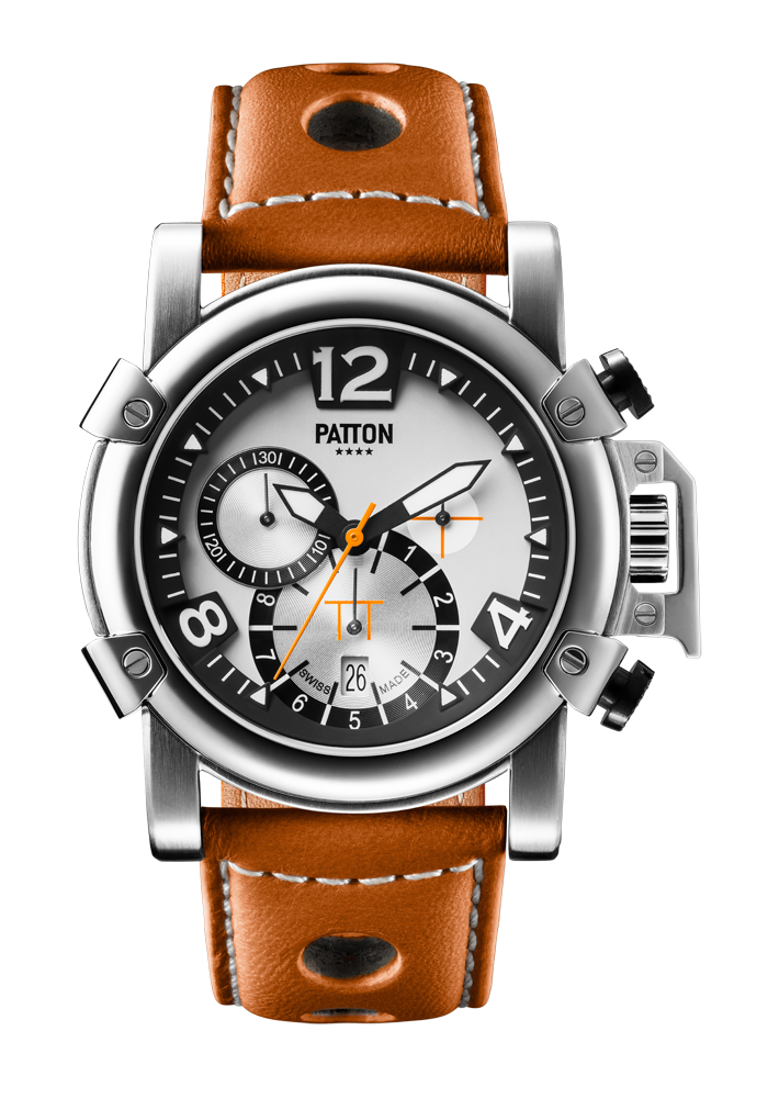CHRONO - Steel - Brown - Leather - 42mm